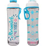 50 Strong Water Bottle for Kids with Time Markers - Motivational Bottles Remind Boys & Girls to Drink Water All Day - BPA Fre