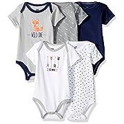 Hudson Baby Cotton Bodysuits, Wild One 5 Pack, 3-6 Months (6M)