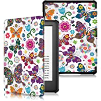 JUN JIU Funda de Piel sintética para Kindle de 10ª generación 2019, con función de Encendido y Apagado automático, para Amazon Kindle E-Reader 2019-Butterfly