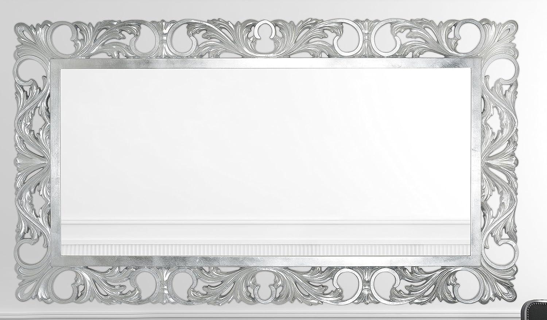 Espejo con marco de madera hoja plata decapato Made in Italy