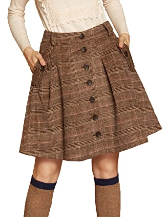 4d0d37a0e Artka Women's Vintage Plaid Midi Wool Skirt with Elastic Waist A Line  Multicolored Coffee at Amazon Women's Clothing store:
