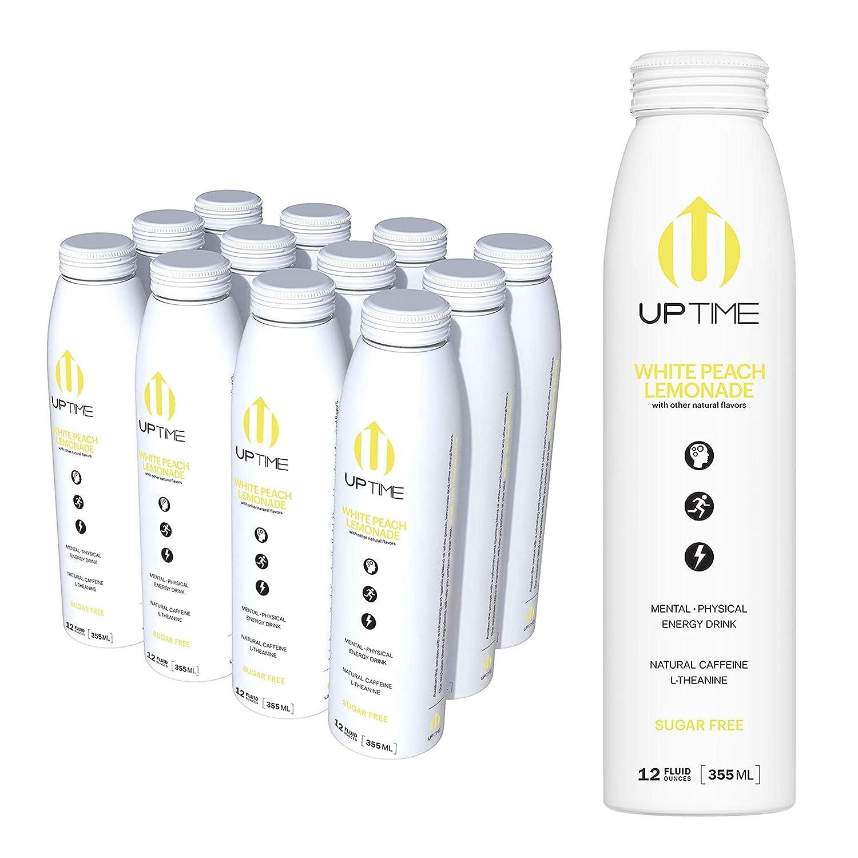 UPTIME – White Peach Lemonade – Sugar Free (12 Pack), Premium Energy Drink, 12oz Bottles, Natural Caffeine, Sparkling, Natural Flavors, 5 Calories