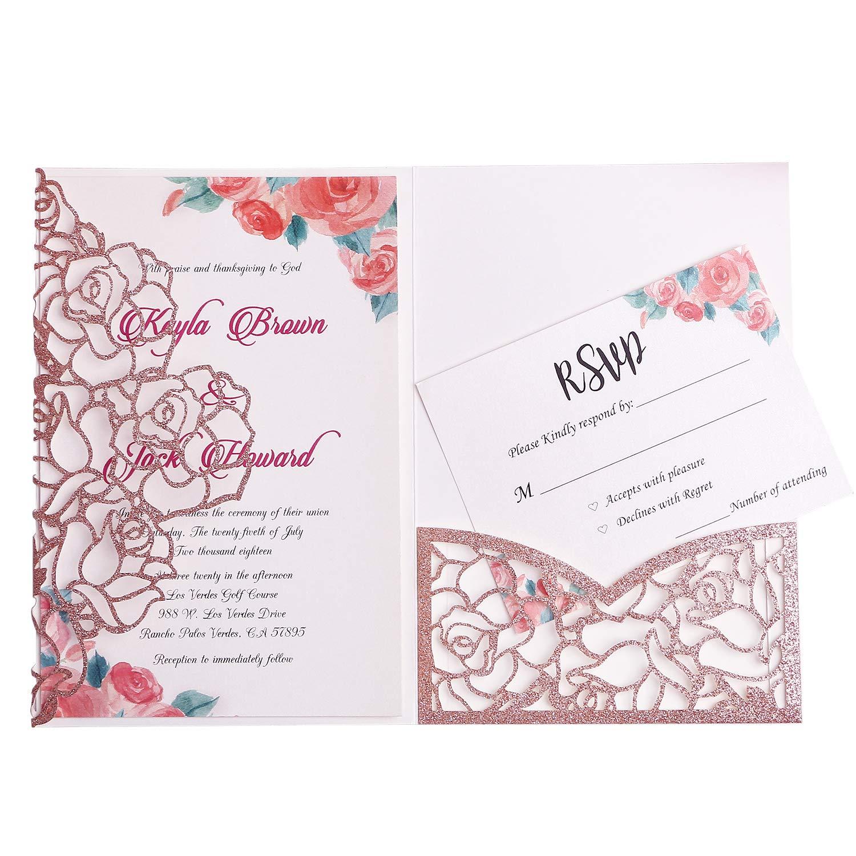 FEIYI 20 PCS 3 Folds Laser Cut Rose Shape Wedding Invitations Cards For Wedding Bridal Shower Engagement Birthday Graduation Invitation Cards (Rose Gold Glitter)