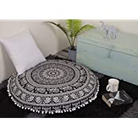 (Black White) - Aakriti Gallery Mandala Floor Round Pillowcase Pillow Meditation Cushion Seating Throw Cover Decorative Bohemian Boho Indian Cover Only (35 inch/89 cms) (Black White)