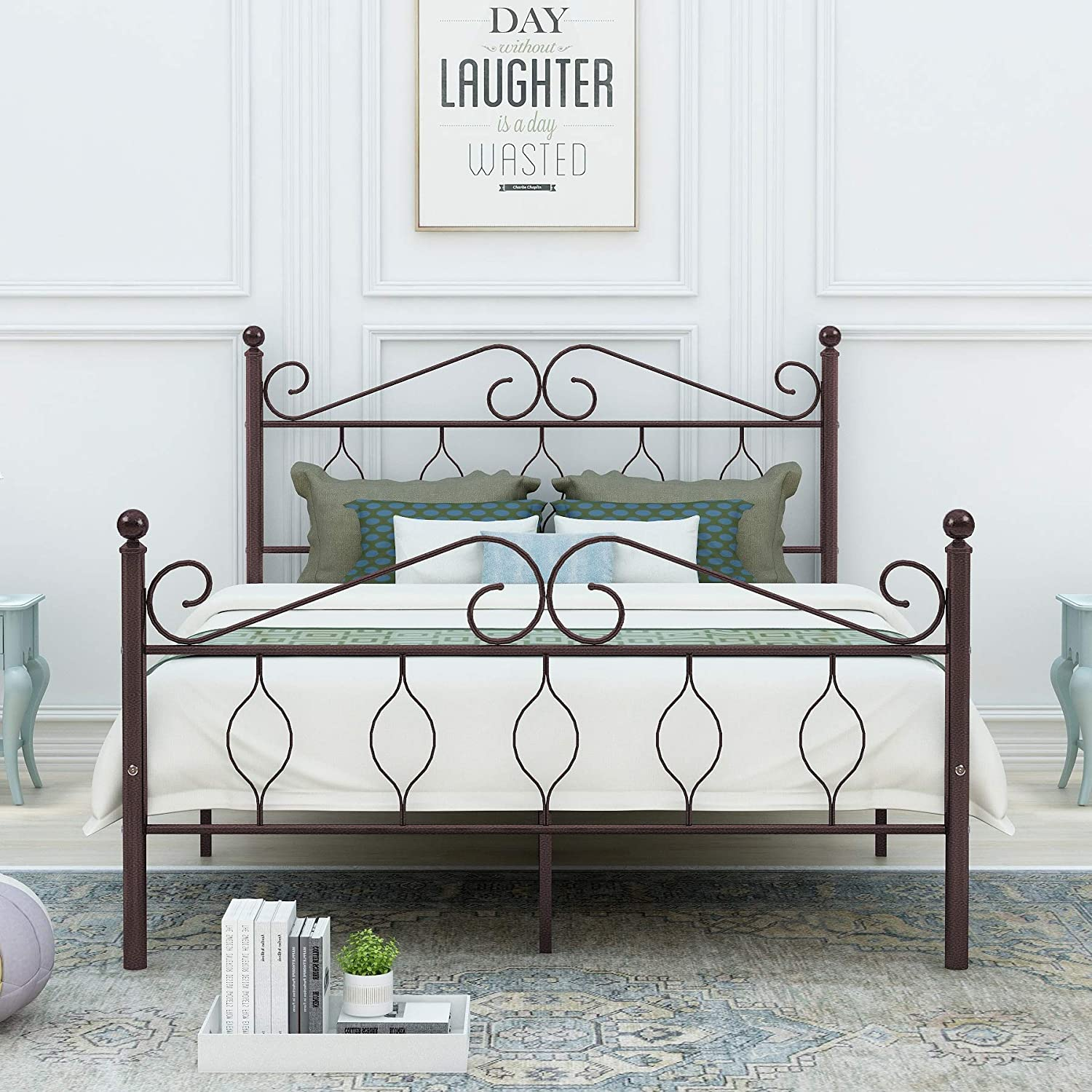 DUMEE Full Size Metal Bed Frame Heavy Duty with Vintage Headboard and Footboard Platform Base Iron Easy Assembley Bronze