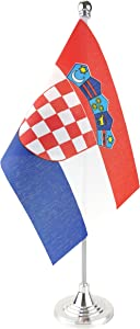 GentleGirl.USA Croatia Table Flag, Stick Small Mini Croatian Flag Office Table Flag on Stand with Stand Base, International Festival Decoration,Croatians Theme Party Decoration,Home Desk Decoration