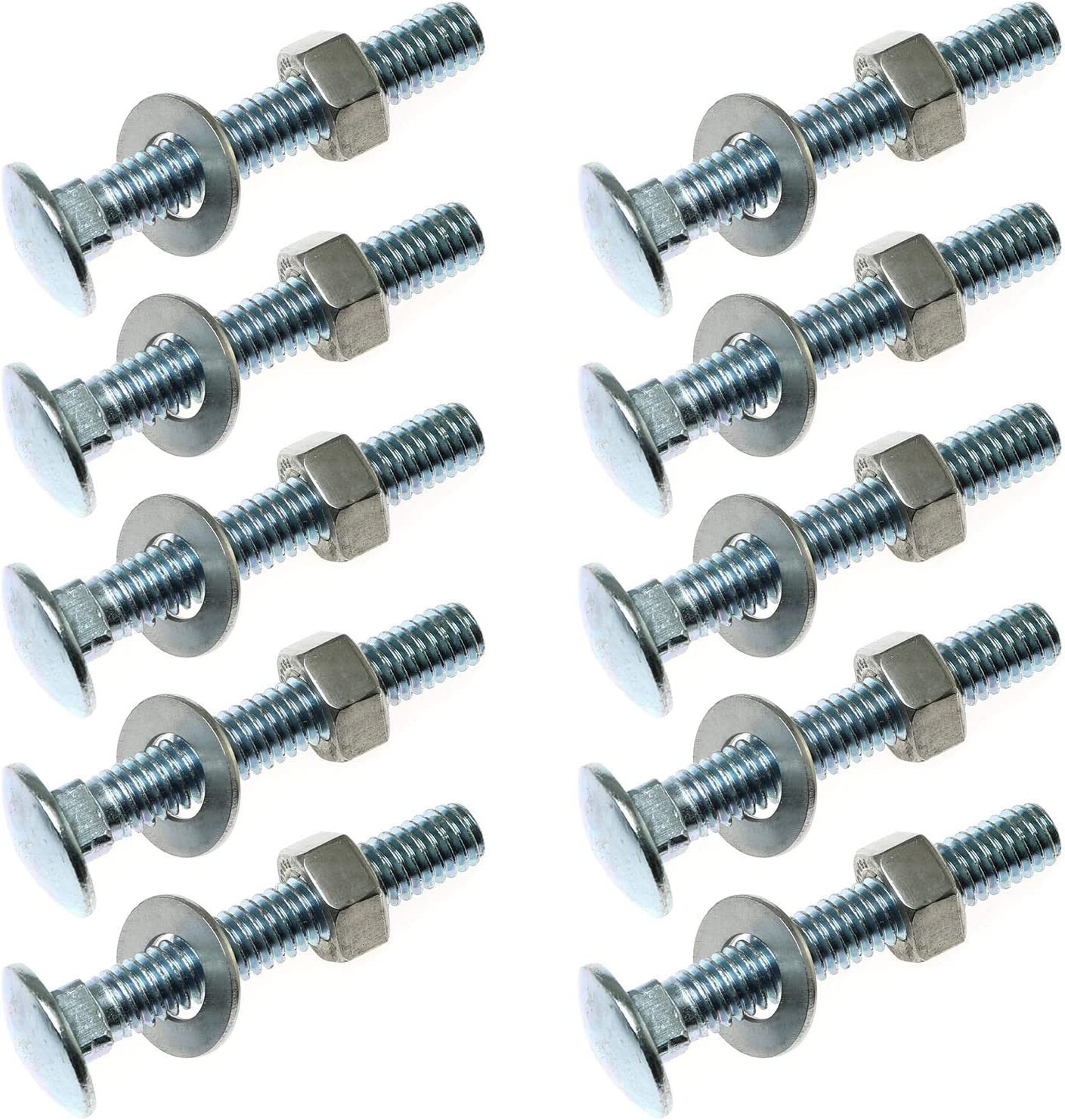 PSCCO 10Set 1//4-20x2 Carriage Bolts Set Round Head Square Neck Screws with Nuts and Washers