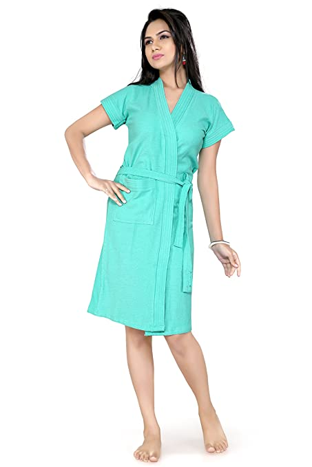 Womens Dark Green Color 100% Terry Cotton Bathrobe Gown - Short Sleeve Knee  Length with 517909317
