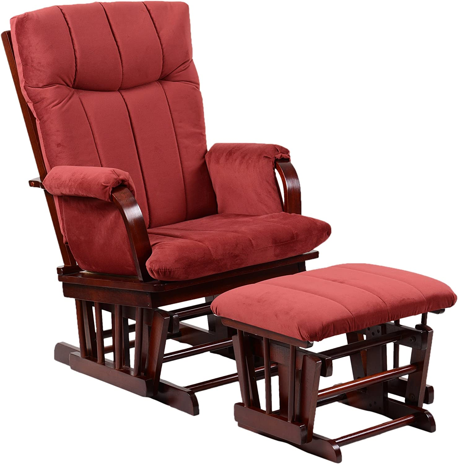 Artiva USA Home Deluxe Marsala Super Soft Microfiber Cushion Cherry Wood Glider Chair and Ottoman Set, Red