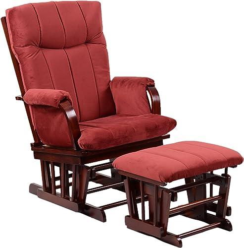 Artiva USA Home Deluxe Marsala Super Soft Microfiber Cushion Cherry Wood Glider Chair and Ottoman Set