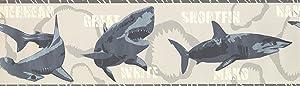 7 in x 15 ft Prepasted Wallpaper Borders - Sharks Wall Paper Border 2719 BT