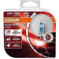 OSRAM NIGHT BREAKER LASER H7, +150% más de luz, lámpara halógena para faros, 64210NL-HCB, coche de 12 V, caja dúo (2…