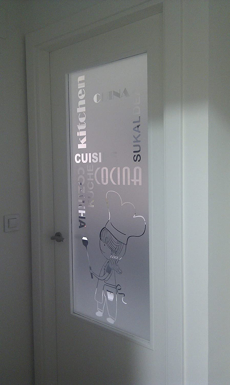 vinilo para cristales COCINERA CON PALABRAS COCINA en diferntes idiomas para puerta o ventana deja pasar la luz 50/_x/_195/_cm