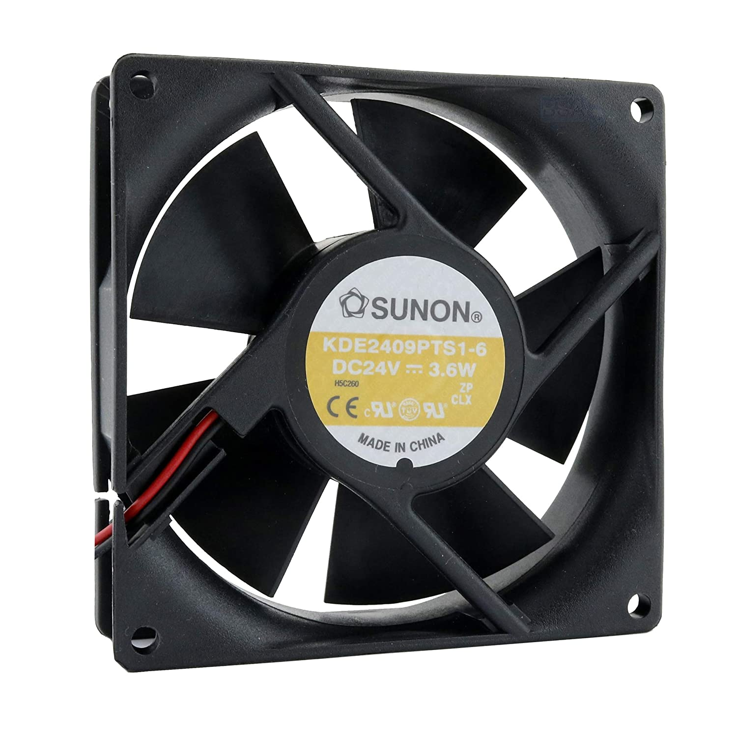 SUNON Ventilador 92 mm 92 x 92 x 25 KDE2409PTS1-6 24 V 3,6 W DC Air Fan 9 cm 2 hilos (+/-)