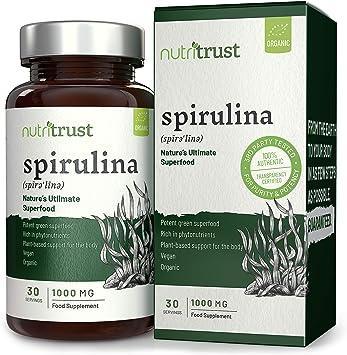 Cápsulas Espirulina Orgánica Nutritrust®(30) – Fuente Proteínas Vegetariana para Veganos Rica en Fitonutrientes y Minerales ¡Bajas en Calorías para ...