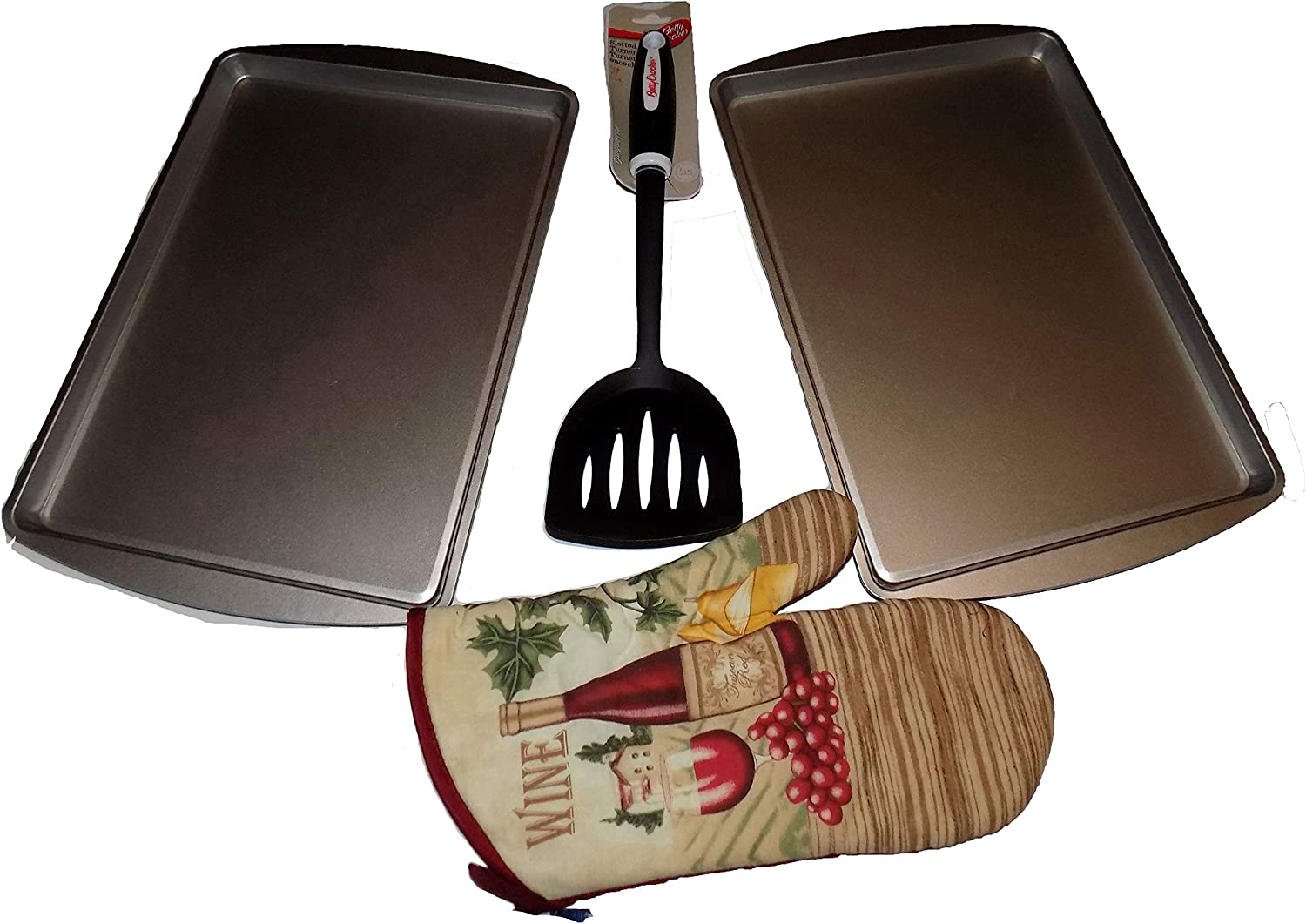 Cookie & Biscuit Baking Set of 2 Cookie Sheets, Betty Crocker Spatula Slotted Turner and a Decorative Oven Mitten