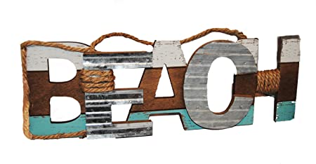 Nantucket Home Large Wooden And Metal Rustic Beach Sign Amazonco