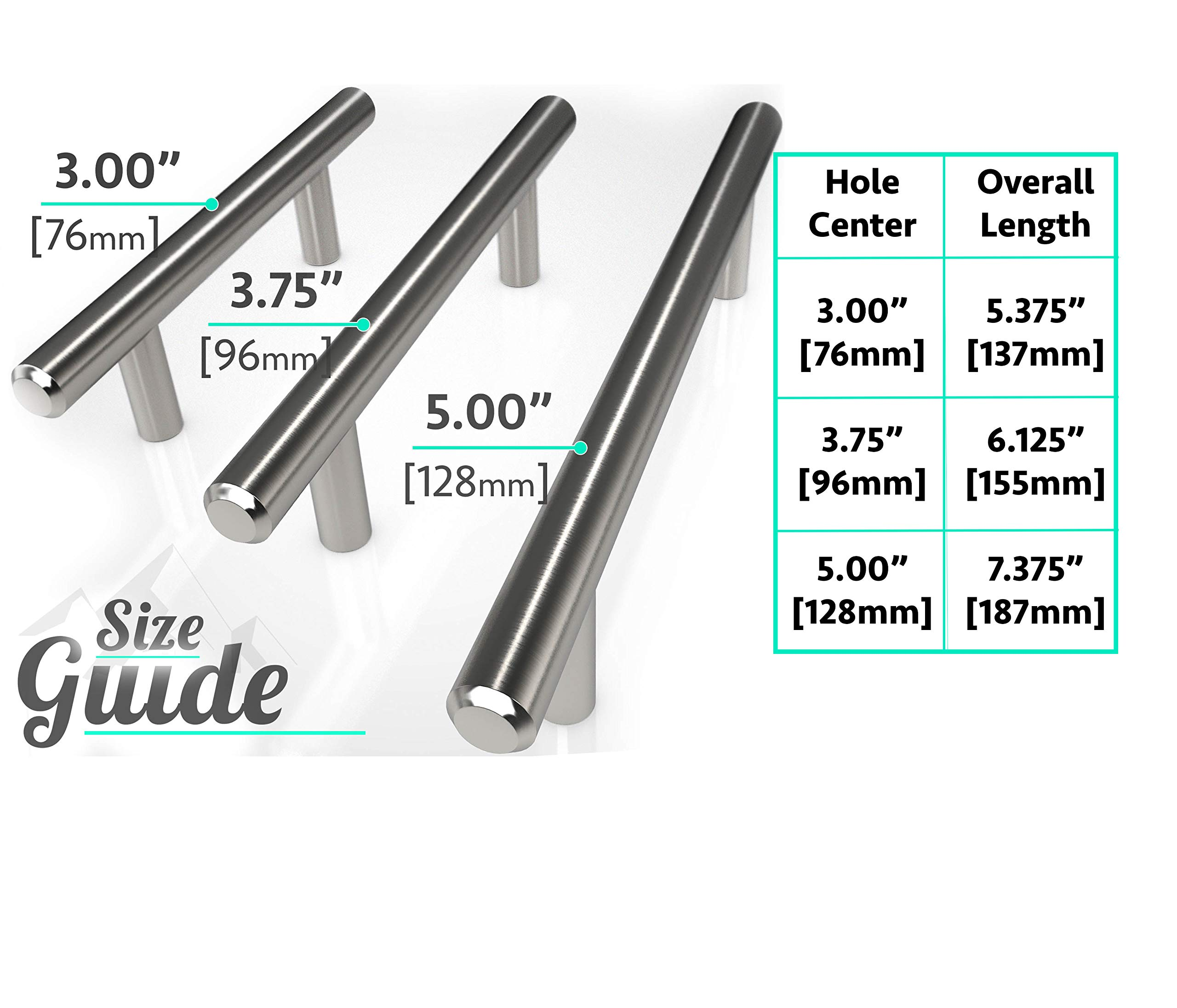 Alpine Hardware | 30Pack ~ 5'' (128mm) Hole Center | Solid Stainless Steel, Bar Handle Pull with A Fine-Brushed Satin Nickel Finish | Kitchen Cabinet Hardware/Dresser Drawer Handles