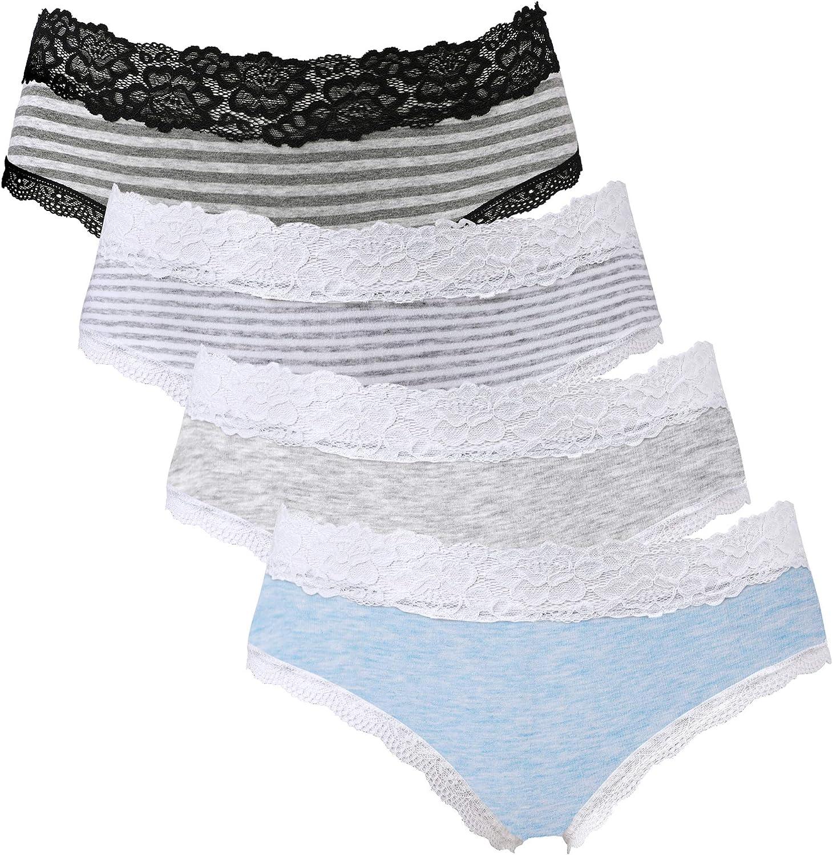 Charmo Damen Baumwolle Panties Slip Ultra Soft Unterhose Spitze Unterwäsche 4er Pack