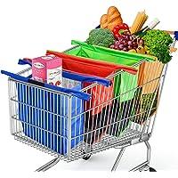 Cheelom Bolsas Reusables Kit de 4 Bolsas de compras reutilizables y organizador de supermercado en Mexico diseñados para carros de carretilla (3+1 Cooler)
