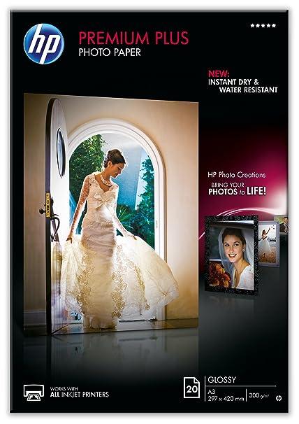 HP Premium Plus CR675A - Papel fotográfico brillante (20 hojas, A3)