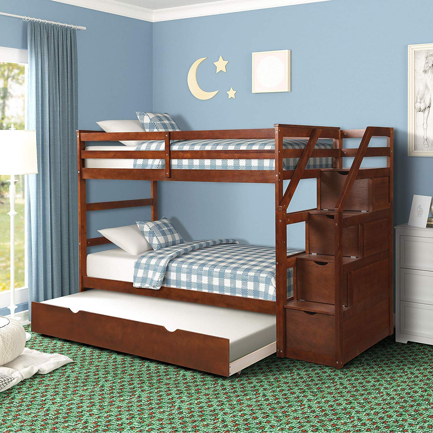 MIERES Kids 3 Twin Bunk Storage and Trundle Bed Walnut