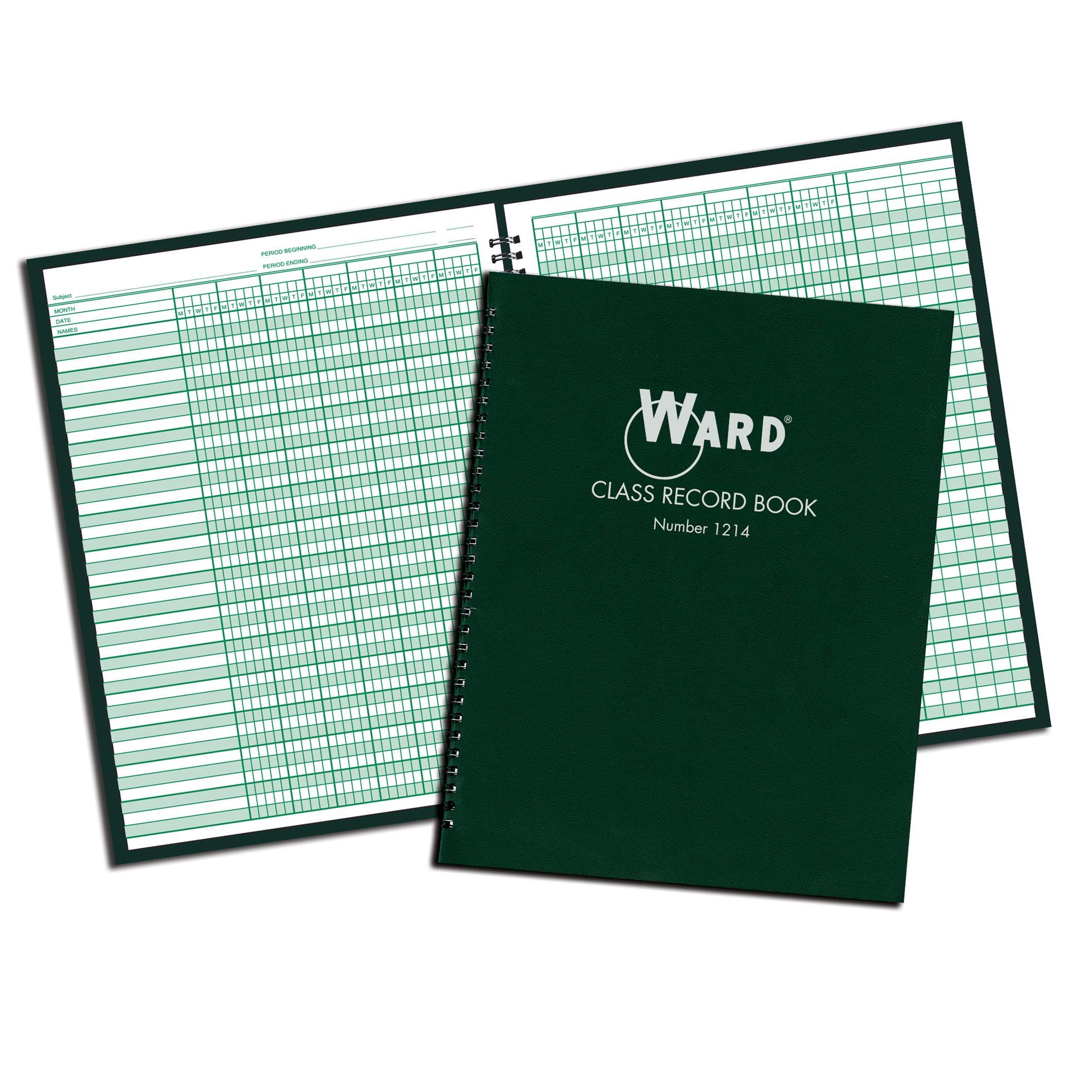 Ward WAR1214BN Class Record Book, 12-14 Week Grading Periods, Green, Pack of 4