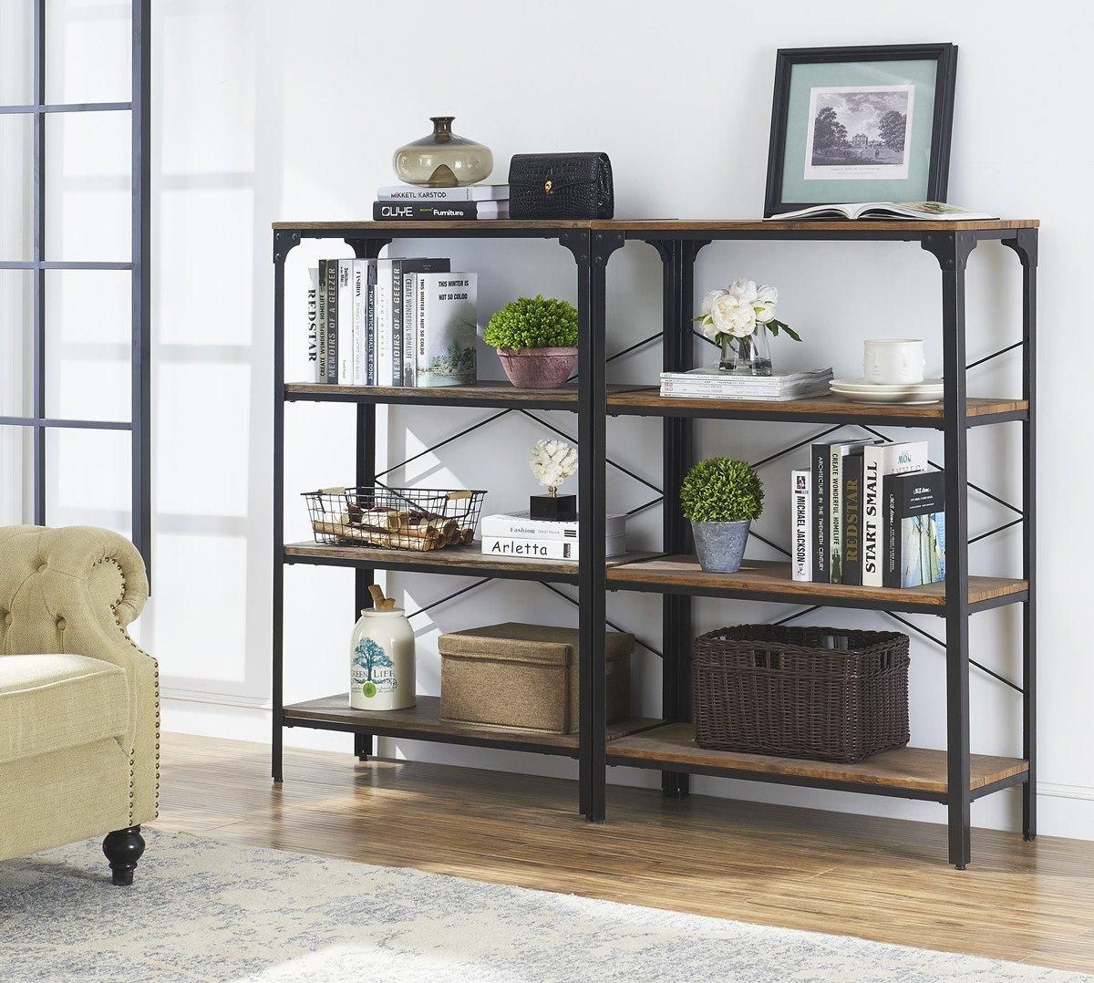 "O&K Furniture 4-Shelf Industrial Vintage Bookcase, Metal Bookshelf, 48""H x 33""W x 13""D, Barn-Wood Finish by O&K Furniture (Image #4)"