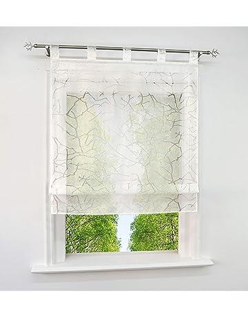 Store Romain Transparent LxH 60x140cm Bas en Forme Triangulaire avec Broderie Florale Blanc Hauteur Ajustable D/écoration Salon Chambre Balcon Cuisine