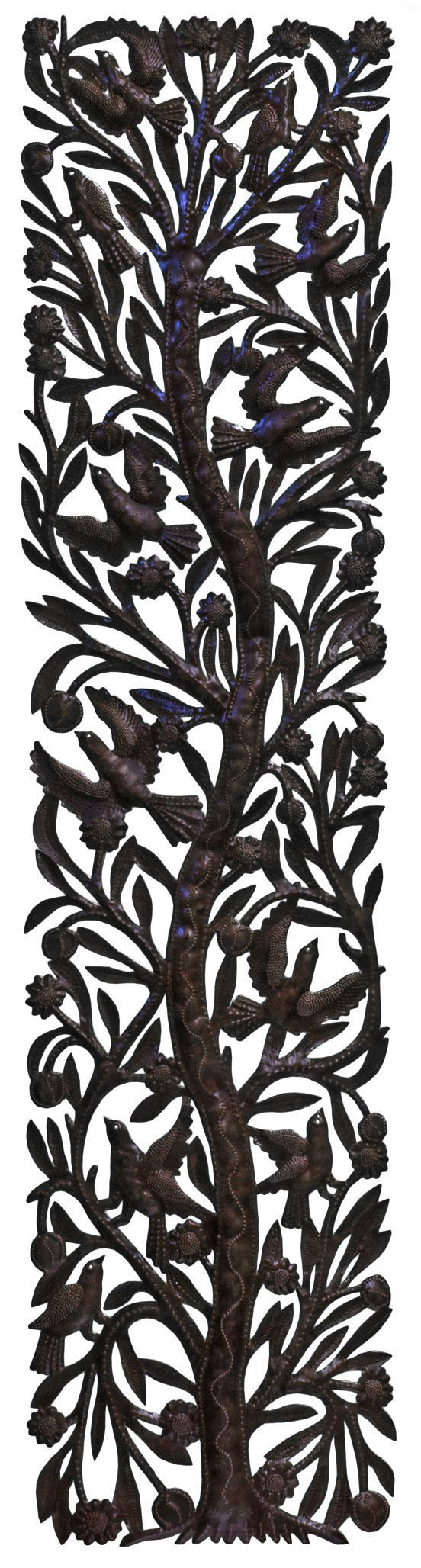 Le Primitif Galleries Haitian Recycled Steel Oil Drum Outdoor Decor, 72 by 14-Inch, Limited Edition Tree of Life No. 1