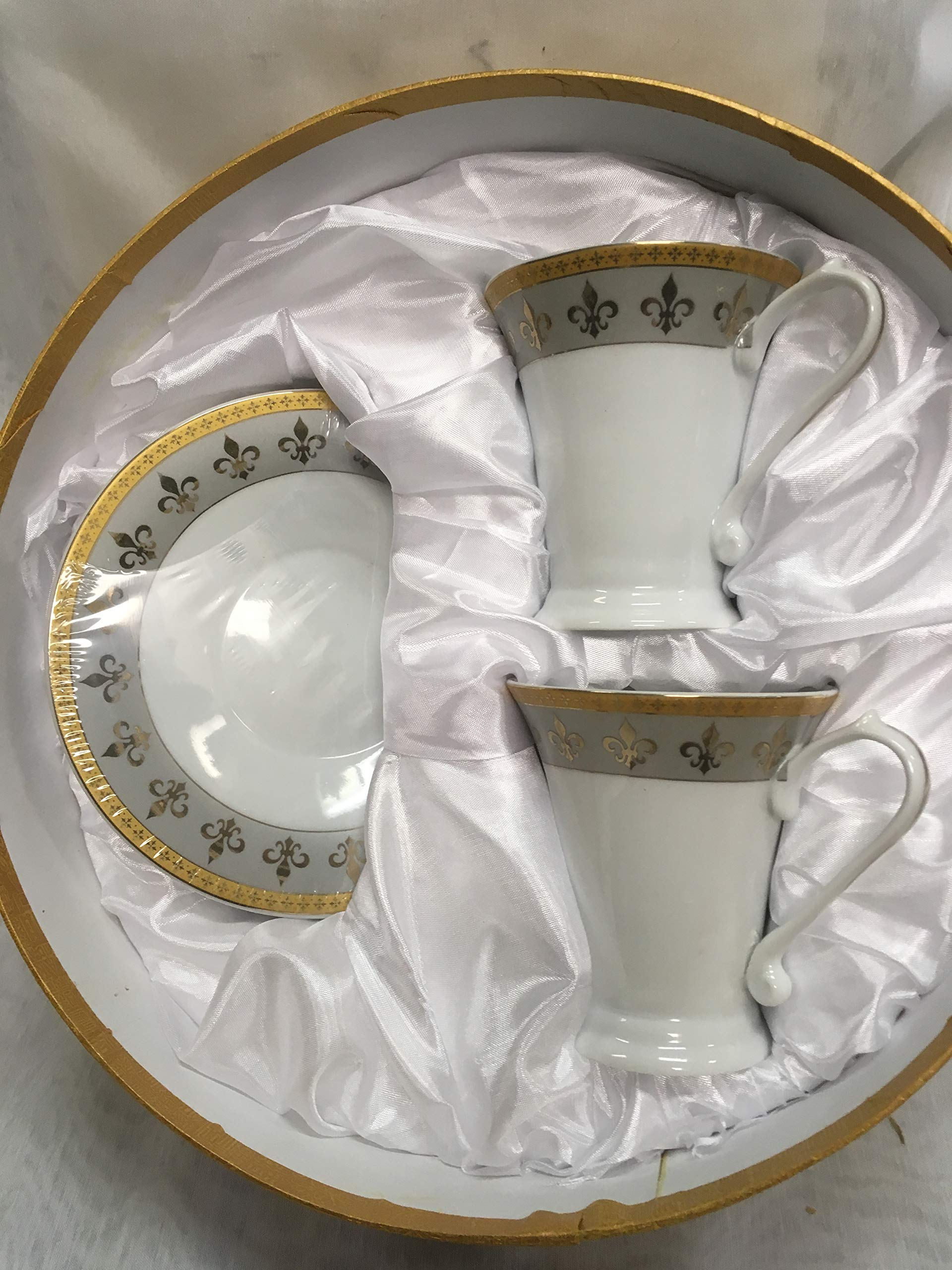 Royalty Porcelain 4-pc Fleur-de-Lis Tea or Coffee Set, Two 24K Gold-Plated Cups and Saucers, Bone China Tableware