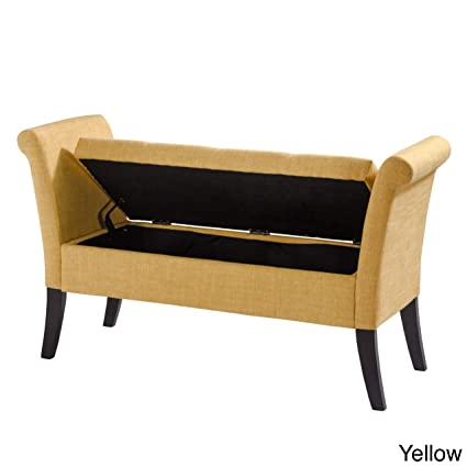 Miraculous Corliving Antonio Upholstered Storage Bench With Scrolled Arms Yellow Gmtry Best Dining Table And Chair Ideas Images Gmtryco
