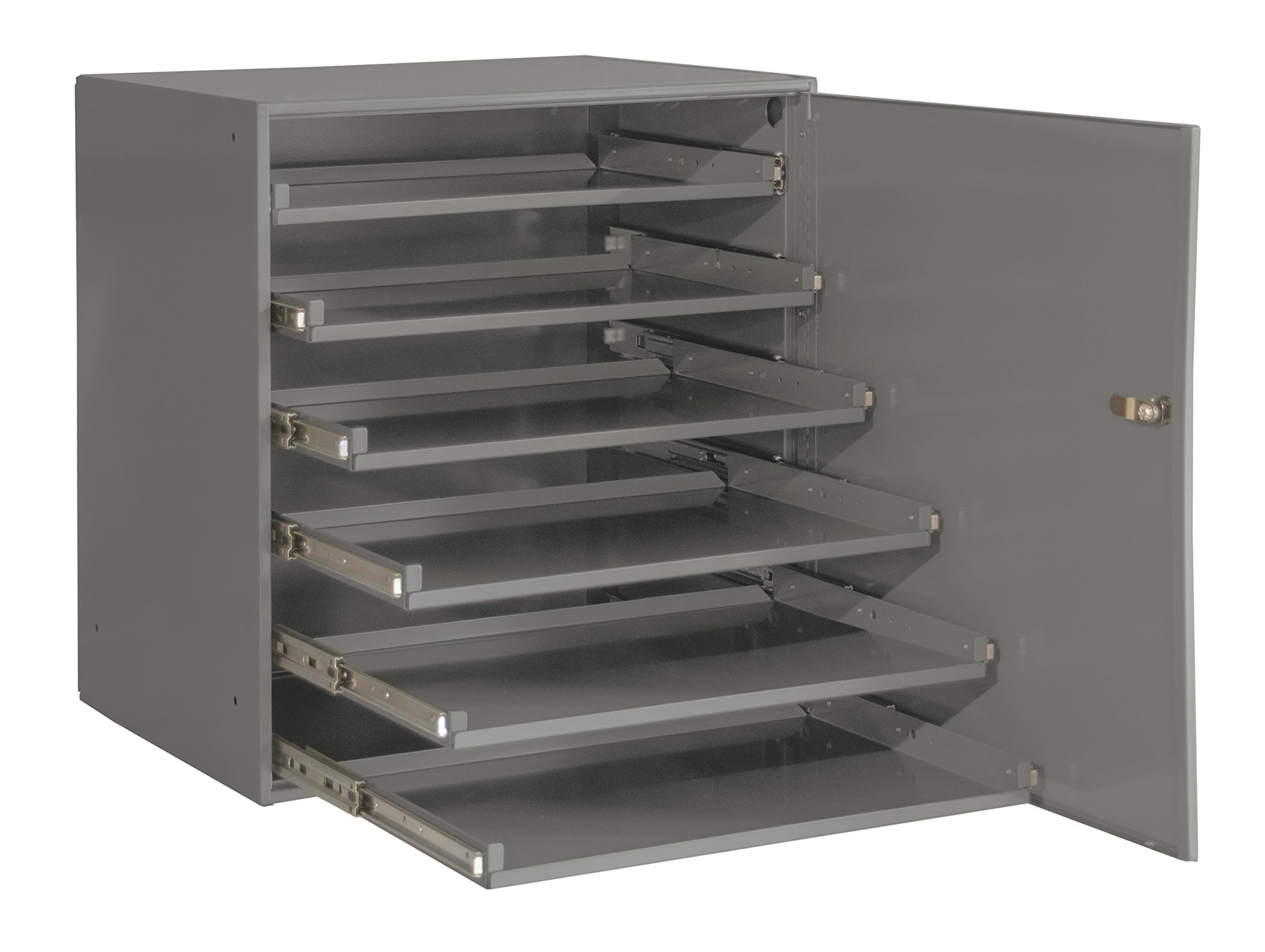 Durham 321B-95-DR Heavy Duty Bearing Slide Rack With Door (Holds 6 Large Compartment Boxes), 20-5/16'' x 15-15/16'' x 21-7/8''