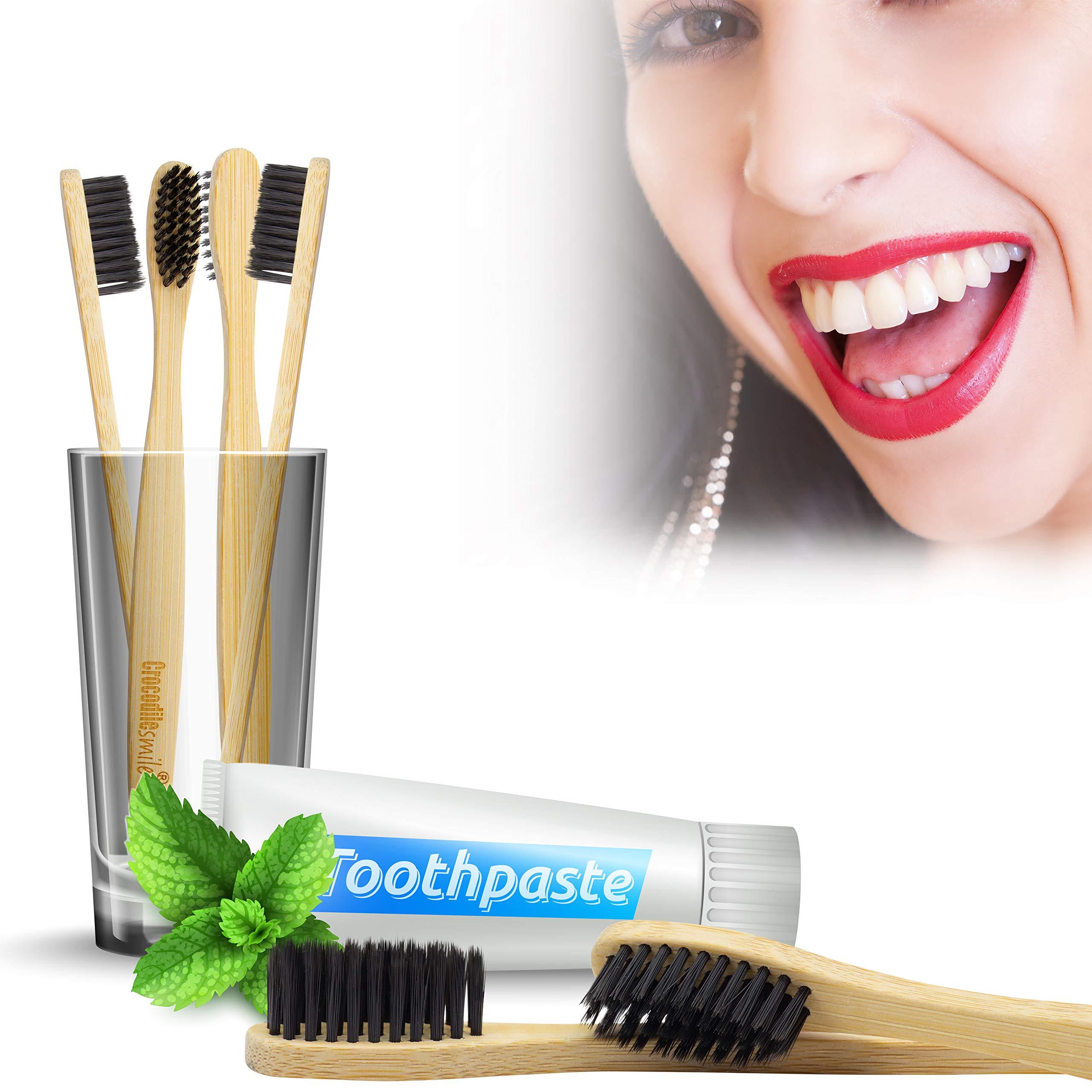 Bambus Zahnbürsten 4 Stück I Nachhaltige & Vegane Holzzahnbürste I weiche Borsten I 4er Pack natürliche Öko Zahnbürste 100% frei von BPA