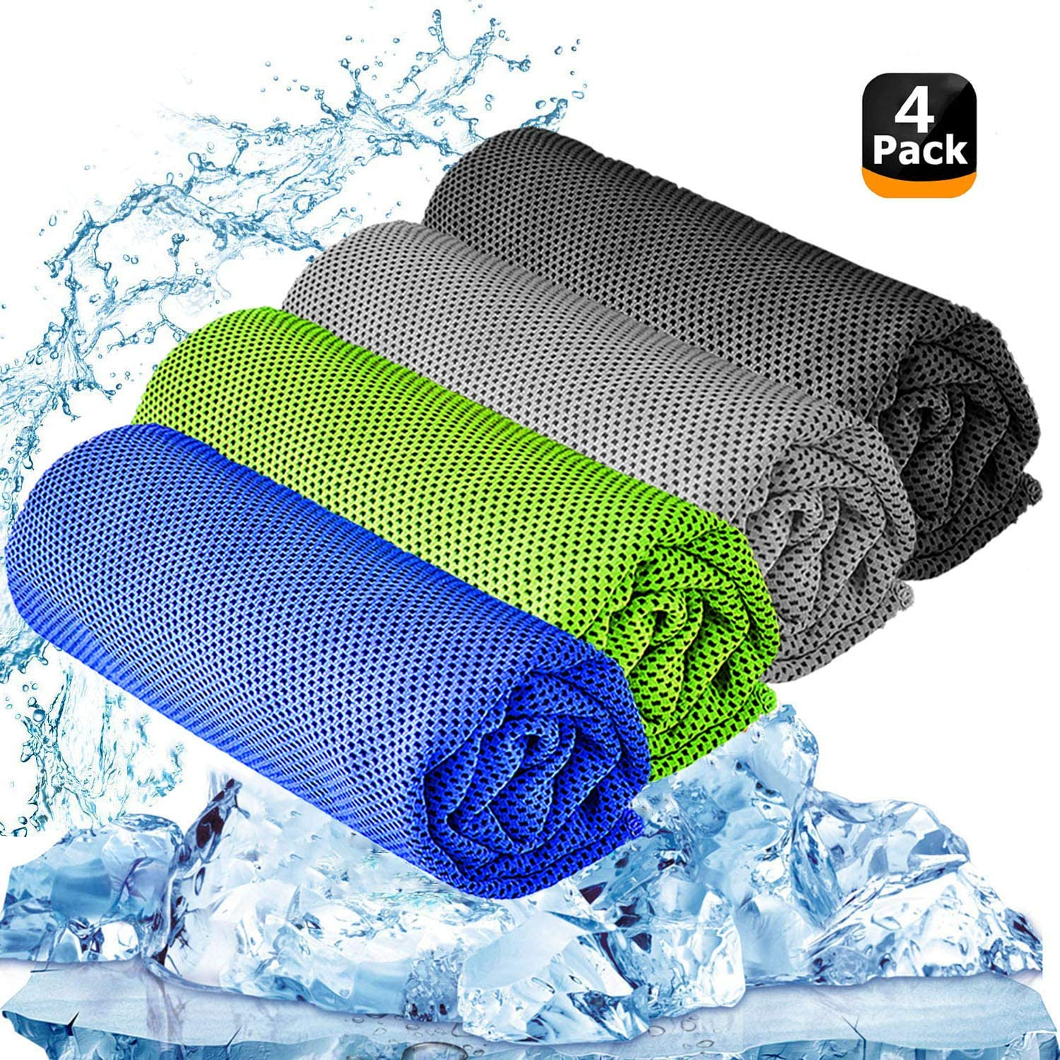 "YQXCC Cooling Towel 3 Pcs (47""x12"") Microfiber Towel For Instant Cooling Relief, Cool Cold Towel for Yoga Golf Travel Gym Sport Camping Football & Outdoor Sports (Dark Blue/Dark Gray/Light Gray/Green)"