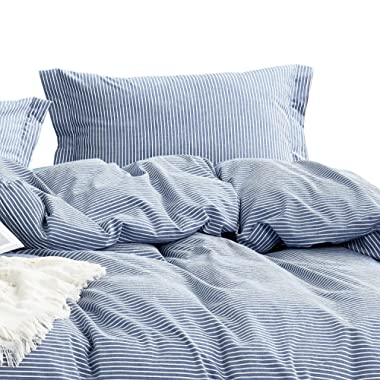Wake In Cloud - Washed Cotton Duvet Cover Set, White Striped Ticking Pattern Printed on Navy Blue, 100% Cotton Bedding, with Zipper Closure (3pcs, King Size)