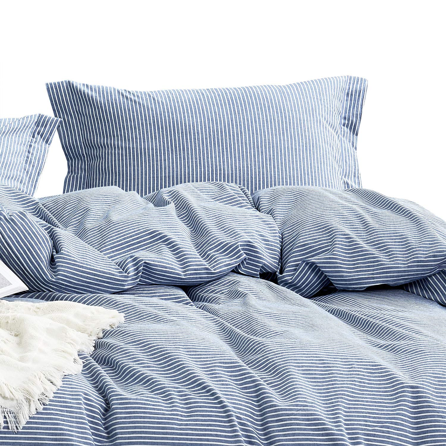 Wake In Cloud - Washed Cotton Duvet Cover Set, White Striped Ticking Pattern Printed on Navy Blue, 100% Cotton Bedding, with Zipper Closure (3pcs, Twin Size)