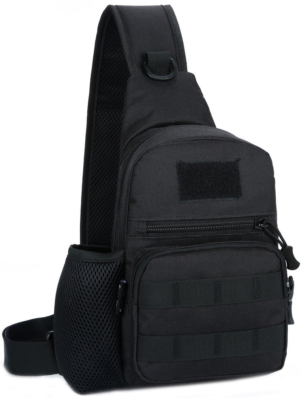 OrrinSports Unisex Sling Pack Small Canvas Messenger Bag Casual Bag Vintage Shoulder Bag Chest Bag for Outdoor Acitivities Black