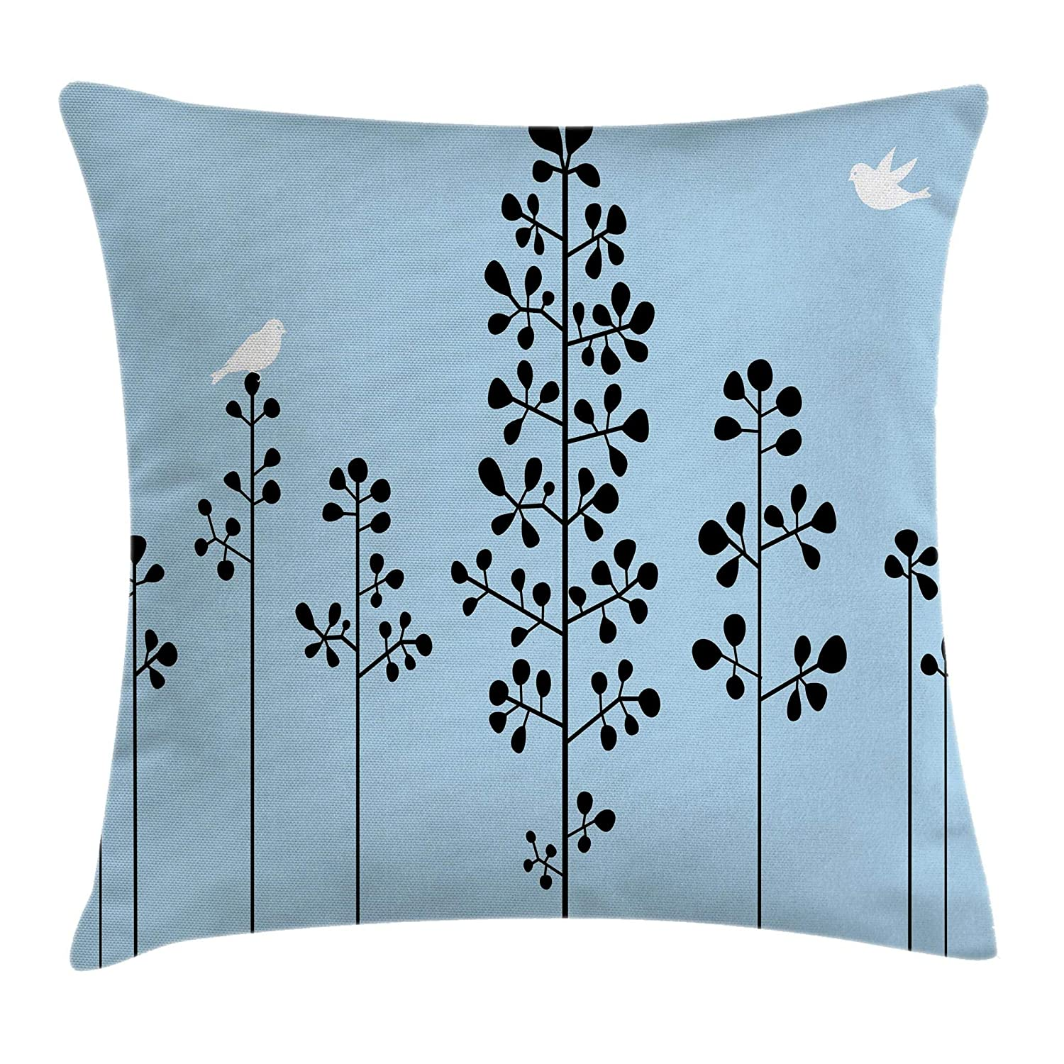 Buy Ambesonne Abstract Throw Pillow Cushion Cover Silhouette Of Birds Sitting On Tree Branch Sky Spring Inspired Illustration Decorative Square Accent Pillow Case 20 X 20 Blue Black Online At Low Prices In India Amazon In