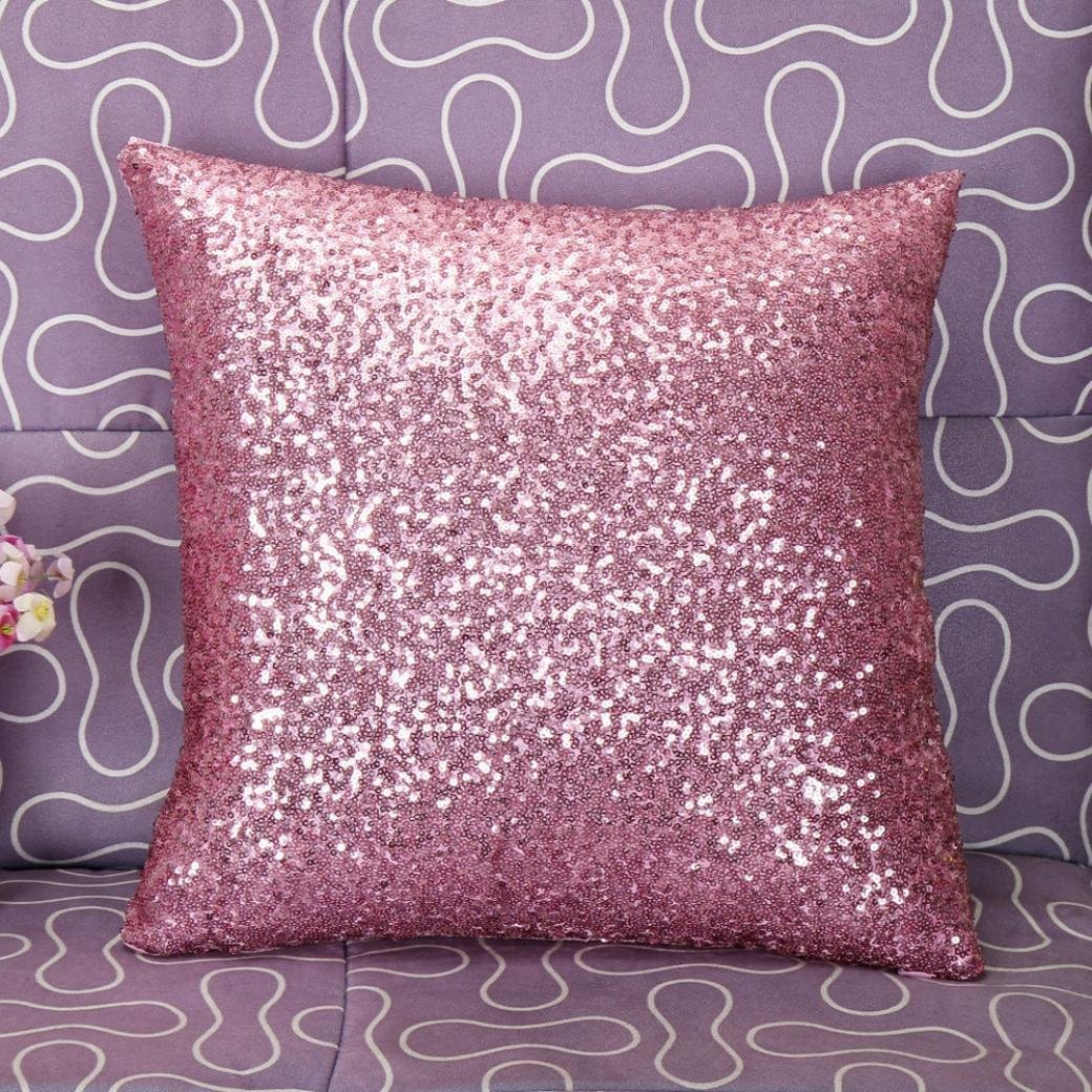 amazoncom stylish comfy solid color sequins cushion cover throw  - amazoncom stylish comfy solid color sequins cushion cover throw pillowcase cafe decor (pink) home  kitchen
