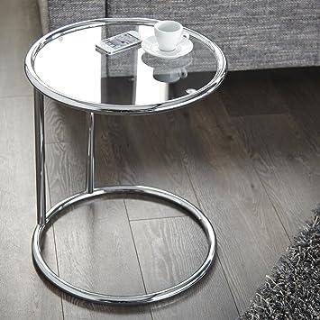 Beistelltisch Couchtisch Olympius Chrom Glas Rund 40cm O Art Deco