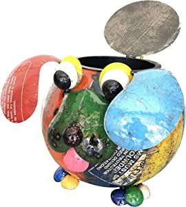 Upycled Emporium Joyful Barnyard Dog Beverage Tub and Freestanding Sculpture for Outdoor Home and Garden Decor, Handcrafted from Recycled Scrap Metals and Colorfully Painted