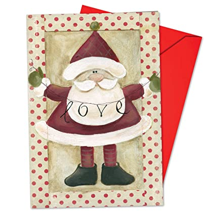 Unique Christmas Cards.12 Santa Banners Love Boxed Christmas Cards With Envelopes 4 63 X 6 75 Inch Painted Santa Claus And Joyful Message Of Love Holiday Cards Unique