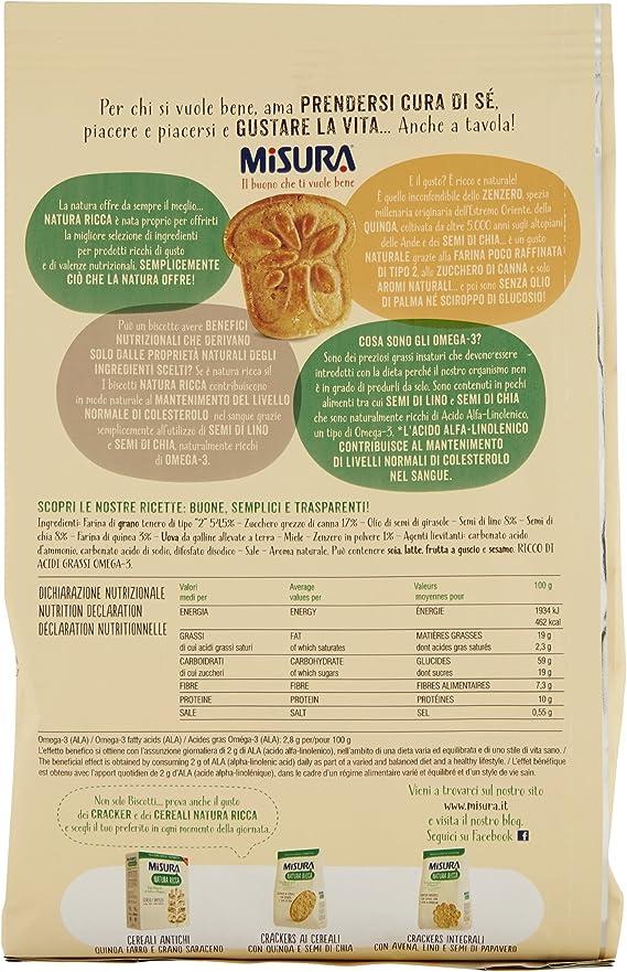 MISURA galletas con quinoa jengibre y semi de chia natura ricca250 ...
