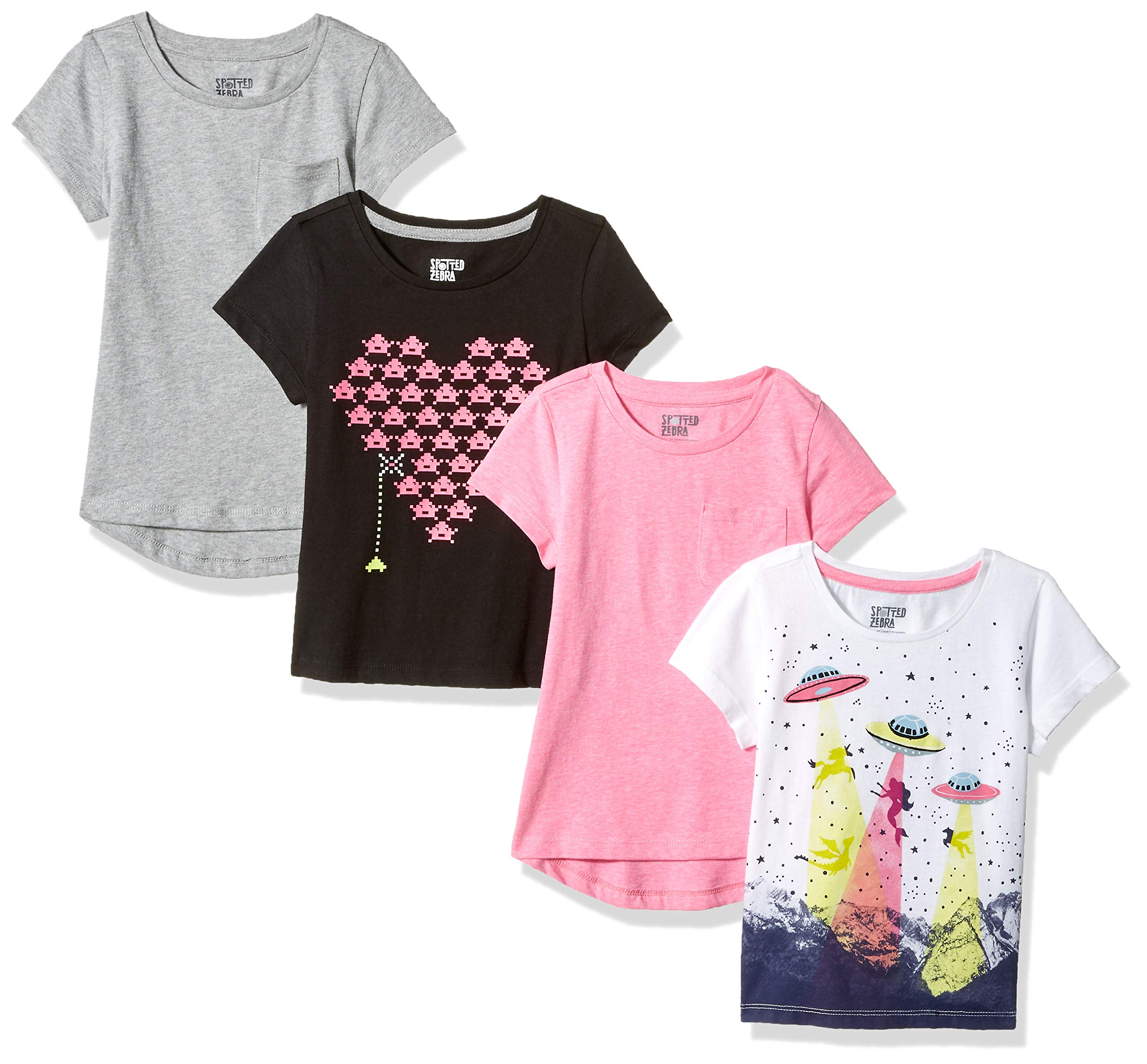 Spotted Zebra Little Girls' 4-Pack Short-Sleeve T-Shirts, Video UFO, Small (6-7) by Spotted Zebra