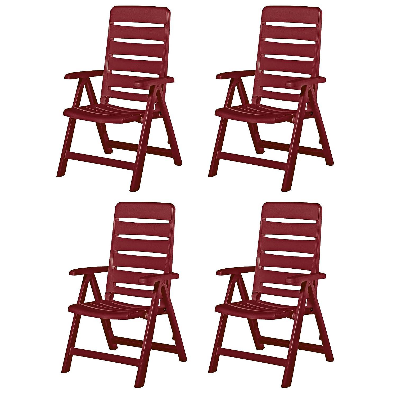 4 Kettler Nizza Gartenstühle Gartenmöbel Klappsessel Sessel in rot ...