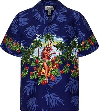 KYs | Original Camisa Hawaiana | Caballeros | S - 4XL | Manga Corta | Bolsillo Delantero | Estampado Hawaiano | Hula | azul: Amazon.es: Ropa y accesorios