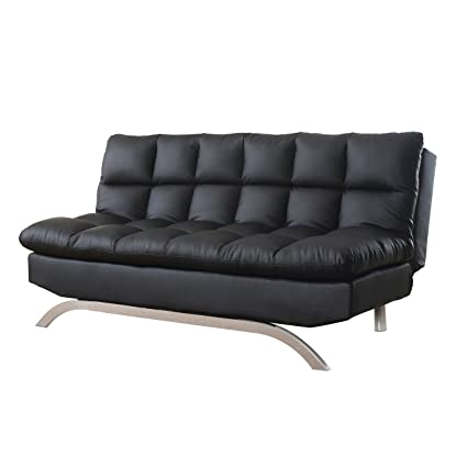 Milton Greens Stars Lugo Plush Futon Sofa Bed, Black