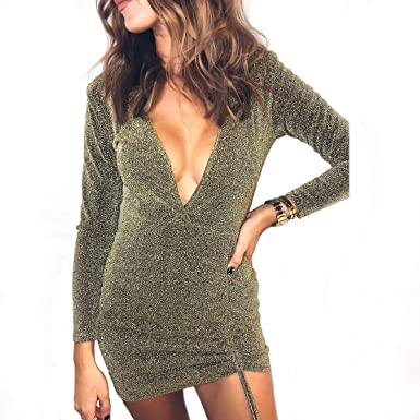 cb071a85fd05 Image Unavailable. Image not available for. Color: Townshine Women Sexy  Sequin Glitter Skirt Deep V Neck Stretchy Short Mini Skirt Dress ...