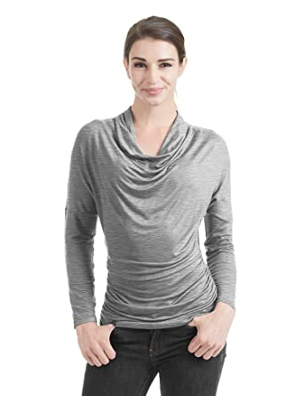 54040906ac52 WT1381 Womens Cowl Neck Long Sleeve Drape Top With Side Shrring S  Heather_Grey